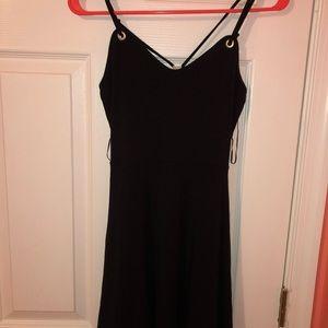 black thin strap mini dress